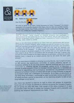 CAT letter for brgy central 1